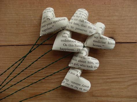 Vintage Origami Paper - half dozen vintage novel paper flowers origami hearts