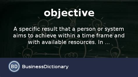what is an objective definition and meaning businessdictionary