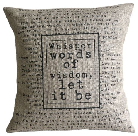 The Pillows Advice Lyrics by The Beatles Quote Burlap Pillow
