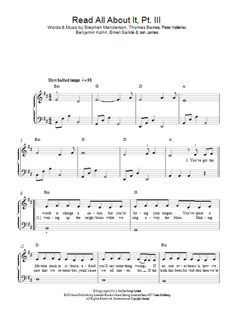tutorial piano emeli sande read all about it read all about it part iii sheet music direct