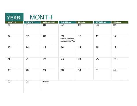 College Calendar Template