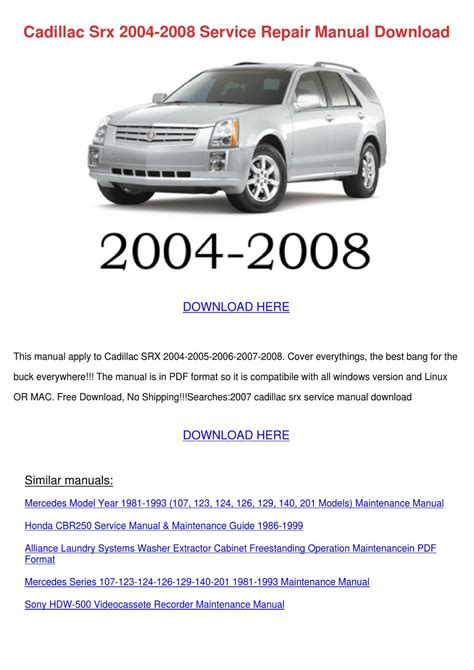 car repair manuals online pdf 2008 cadillac srx spare parts catalogs cadillac srx 2004 2008 service repair manual by johnette phile issuu