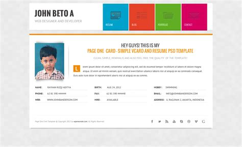 mycard responsive vcard resume html template page one responsive vcard cv resume wp theme by