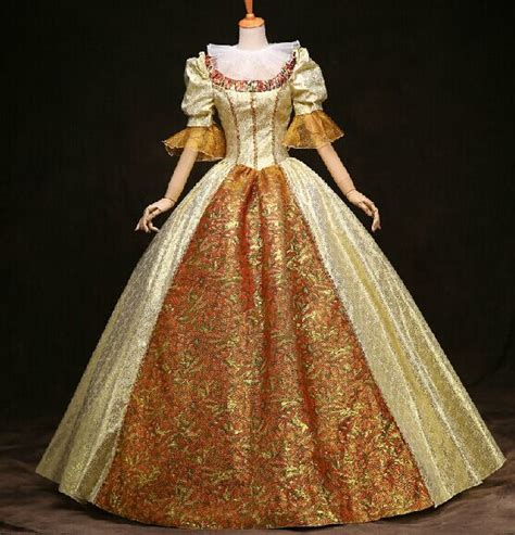 100%real photos luxury venice carnival gown golden floral queen Medieval Renaissance Gown queen