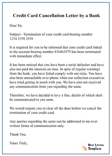 sample cancellation letter template credit card