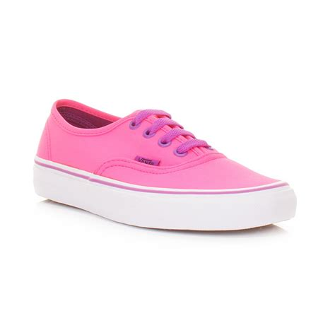womens vans authentic neon pink purple canvas trainers