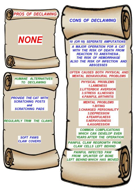 pros and cons of cats printable anti declawing posters poc
