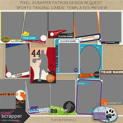 Pixelscrapper Patron Design Request Sports Trading Card Templates Holly Wolf Scraps Trading Card Design Template