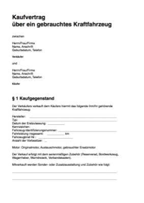Vorlage Kaufvertrag Auto Privat by Kfz Kaufvertrag Privat Word Vorlage Muster Hier