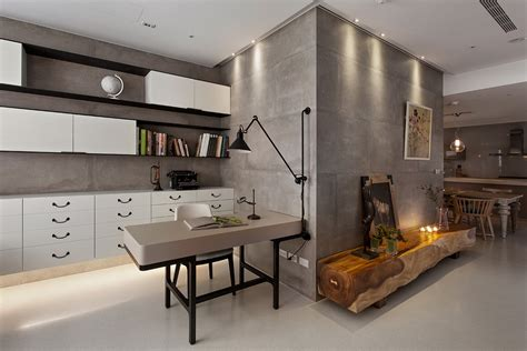 concrete walls in modern office interior design ideas - Modern Office Wall