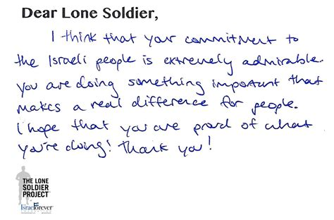 thank you letter to a soldier sle news the israel forever foundation