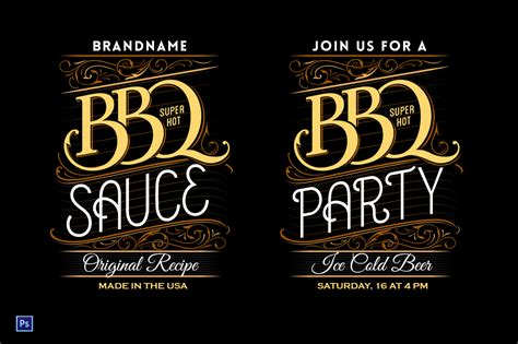Bbq Party Sauce Lettering Template Illustrations On Creative Market Bbq Sauce Label Template