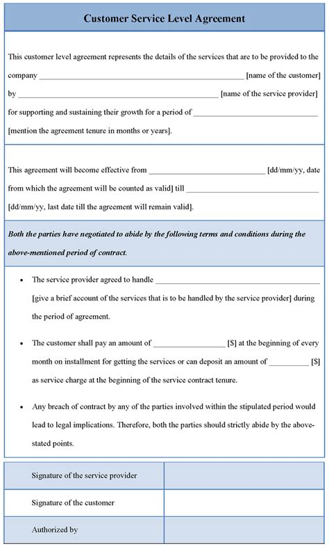 agreement template for customer service level sle of