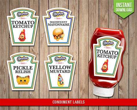 Heinz Label Template by Shopkins Condiment Labels Shopkins Condiments Shoppies Heinz