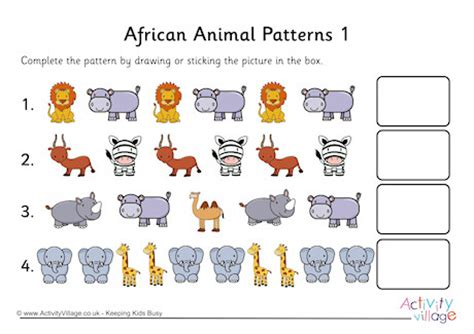 animal pattern games pattern worksheets 187 repeating pattern worksheets year 1