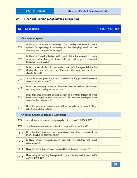 internal control documentation template gallery
