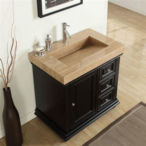 36 inch modern bathroom vanity single sink travertine top
