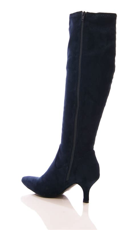 stretch boots womens stretch boots kitten heel pointy elastic