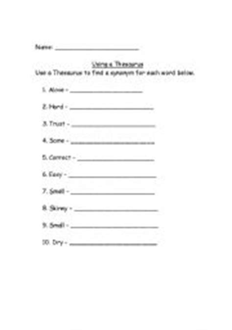 thesaurus worksheets