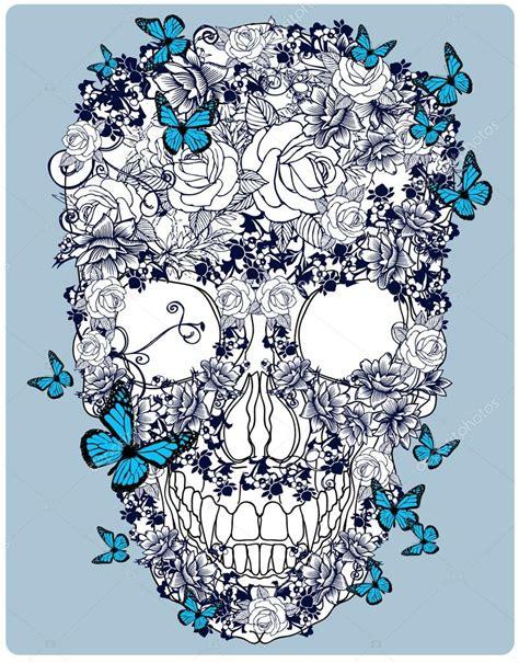 teschio fiori teschio disegnato a mano fatto dei fiori vettoriali
