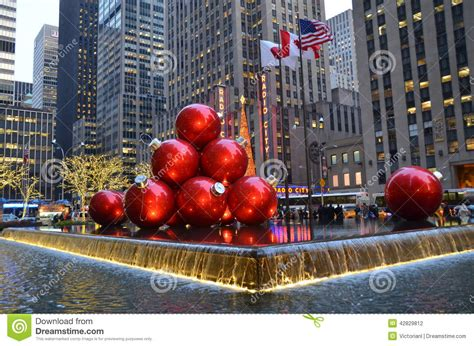 giant christmas ornaments decoration in nyc new york usa december 11 2011 city streets are crowded of for editorial image