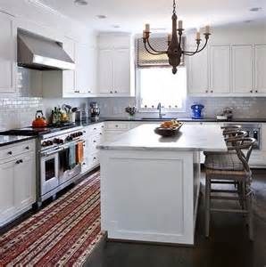 How Much Overhang For Kitchen Island White Kitchen Island With Gray Wishbone Counter Stools Transitional Kitchen