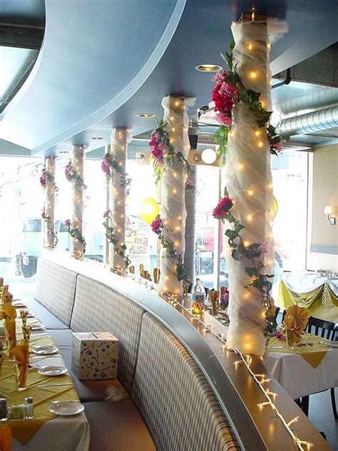 christmas column wrap tulle lights flowers column wrapping flowers bows theme columns flower