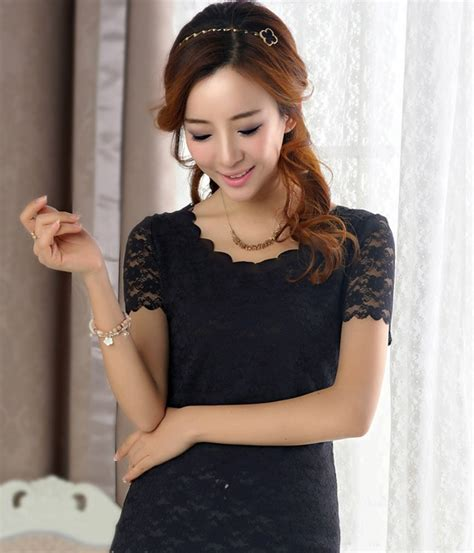 Blouse Import Korea 100no Replika Bl3005blue Jual Lace Blouse Import Korea 100 No Replika Bl3051