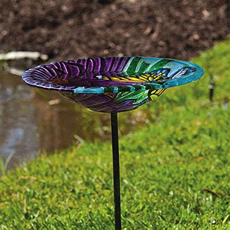 evergreen enterprises monarch floral glass stake birdbath