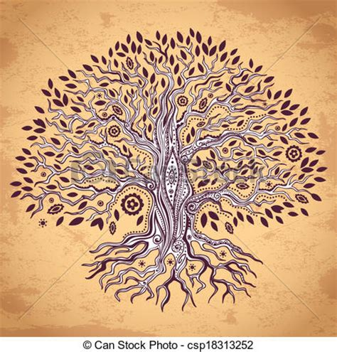 clipart vector of vintage tree of life illustration