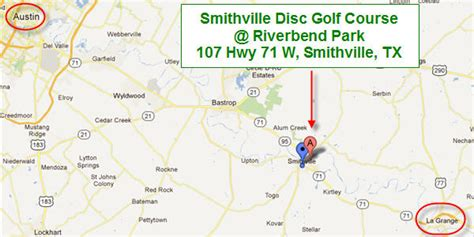 smithville texas map smithville disc golf course riverbend park city of smithville texas