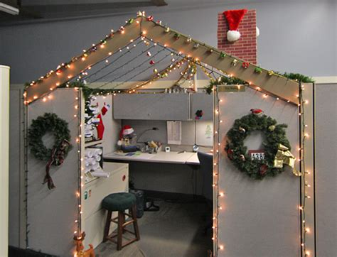 cubicle holiday decorating contest themes ideas to decorate office cubes our company logo featured a house and one of our