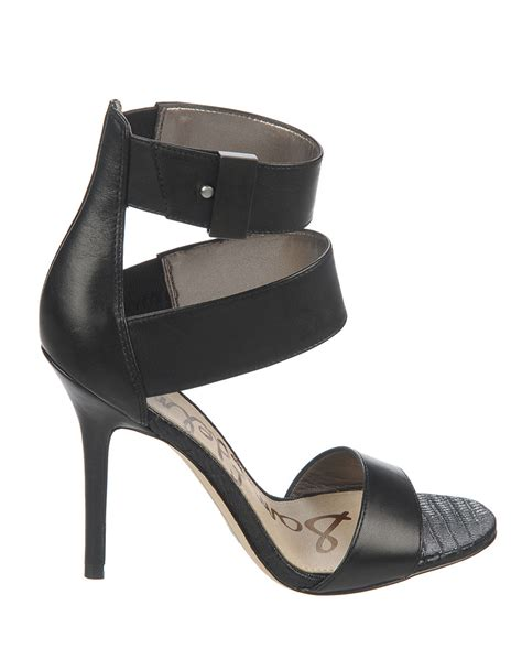sam edelman high heels sam edelman addie high heel leather sandals in black lyst
