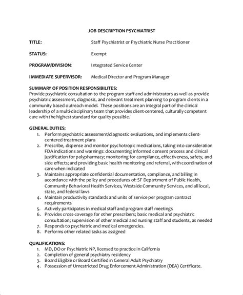 healthcare administration description sle psychiatrist description 8 exles in
