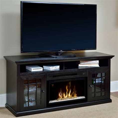 electric fireplace hazelwood electric fireplace media console w glass embers