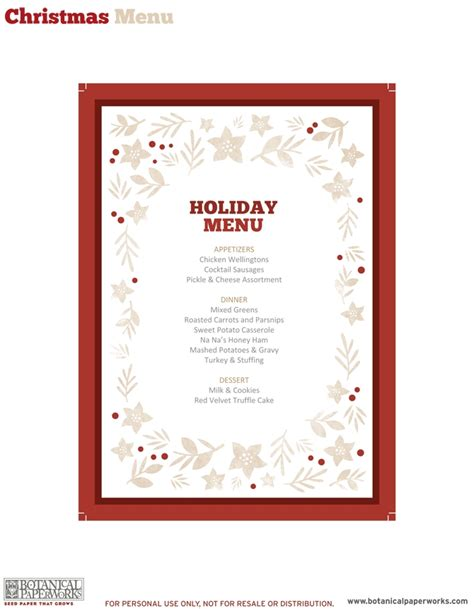 free christmas menu templates invitation template
