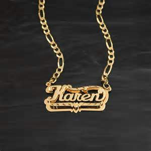 Monogram Necklaces Gold Double Plate Diamond Cut Name Necklace Quot Karen Quot