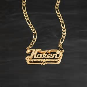 Necklace Name Plate Double Plate Diamond Cut Name Necklace Quot Karen Quot