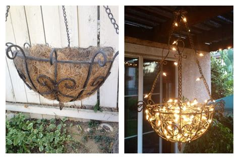 Outdoor Chandelier Diy Diy Outdoor Chandelier Made From A Hanging Planter Fishing Line And Lights In The
