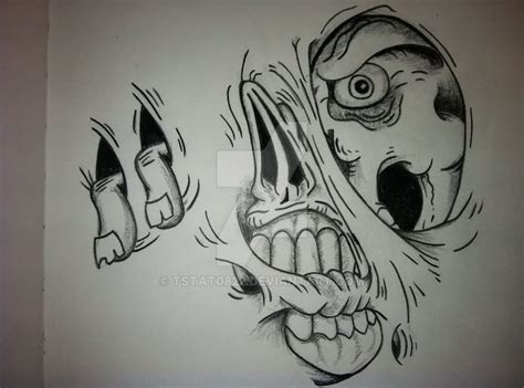 zombie tattoos tattoo designs tattoo pictures page 6 black and grey ripped skin demon face tattoo on man side