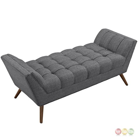 upholstered tufted bench response contemporary button tufted upholstered bench gray