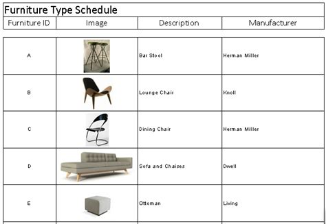 20 Images Of Furniture Schedule Template Leseriail Com Ff E Schedule Template