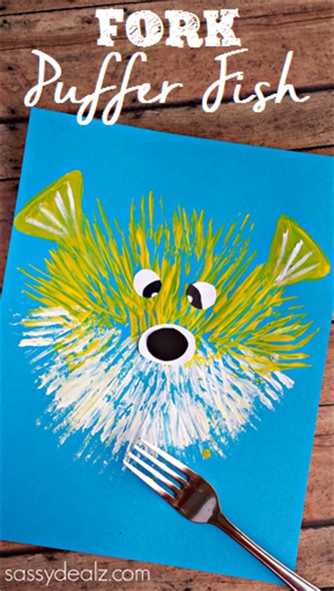 puffer fish craft kid s puffer fish craft using a fork crafty morning