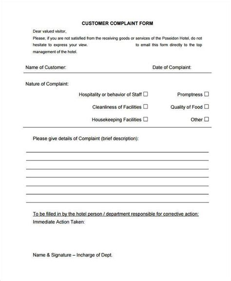 sample hotel complaint forms 7 free documents in word pdf