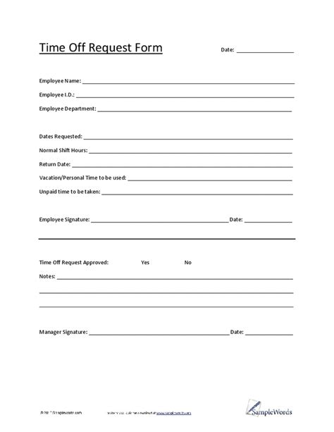 4 Time Off Request Form Templates Excel Xlts Time Request Form Template Pdf