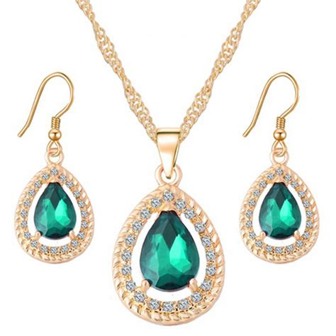 Set Kalung Gold Water Drop gold color water drop cubic zirconia necklace earrings fashion wedding jewelry sets