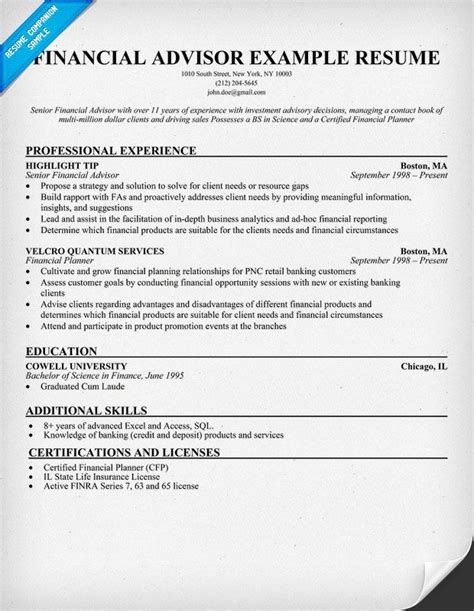 finance resume template financial advisor resume resume sles across all