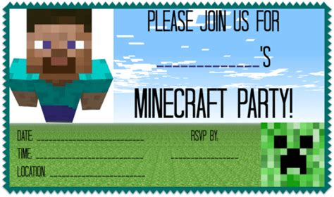 Great Ideas For A Minecraft Birthday Party Momof6 Free Printable Minecraft Birthday Invitations Templates