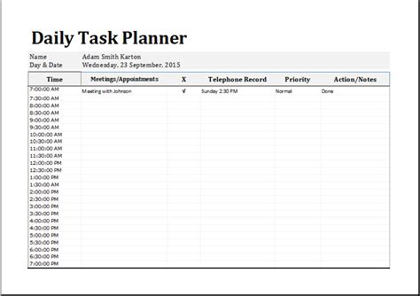 daily task planner template 10 free printable daily planner templates printable