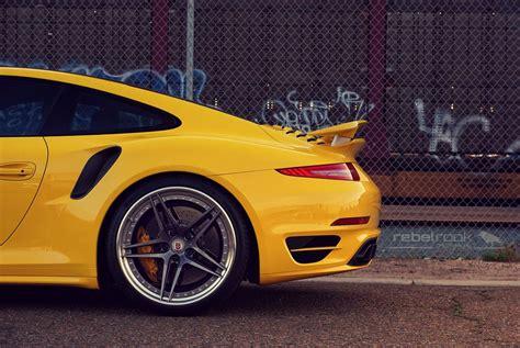 lowered porsche 911 porscheboost yellow 2014 porsche 911 991 turbo s
